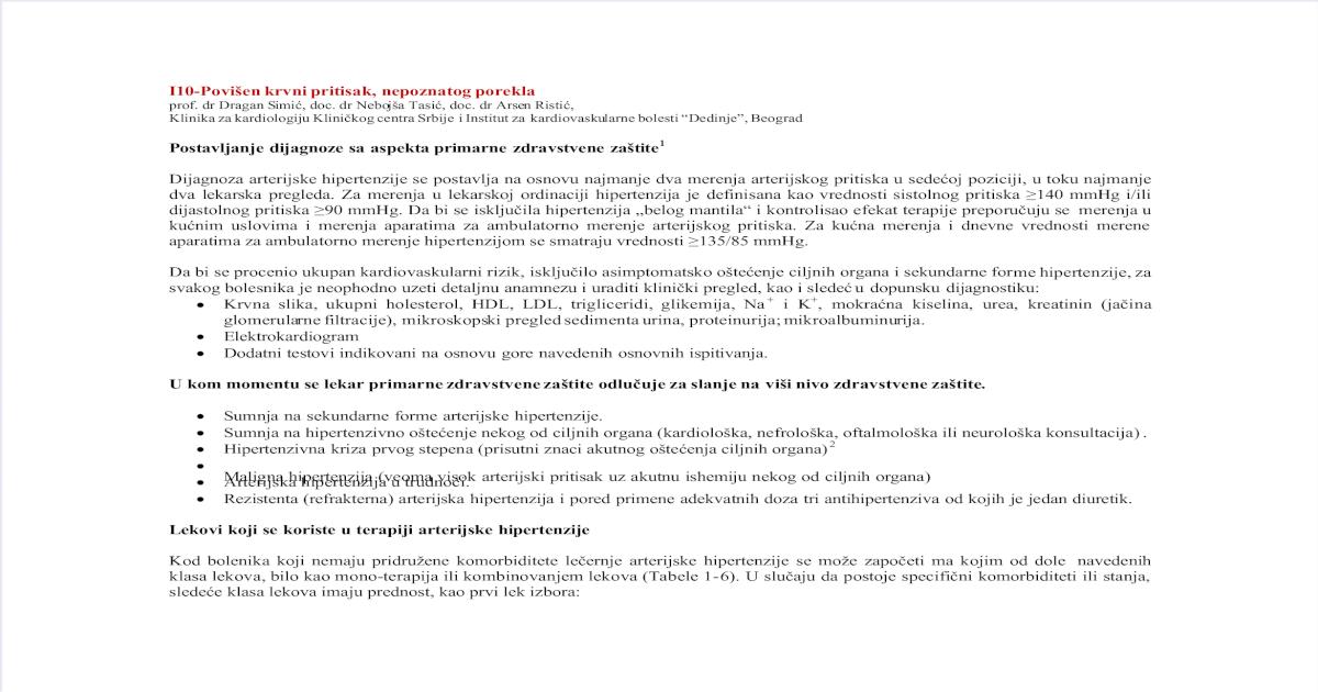 dijagnoza hipertenzije formulacije prevencija hipertenzije komplikacija